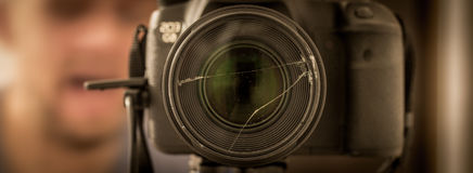 the camera close-up , broken lenses Royalty Free Stock Photos
