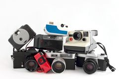 Camera Collection Isolated On White Royalty Free Stock Photography