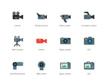 Camera color icons on white background Stock Photo