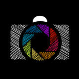 Camera with colorful aperture. Photography logo royalty free illustration