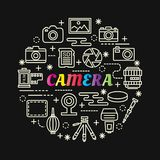 Camera colorful gradient with line icons set. Vector editable stroke Royalty Free Stock Photography