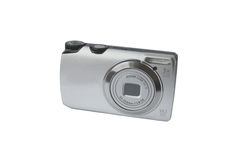 The camera compact. Small modern compact camera on a white background Stock Photo