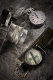 Camera, Compass and Stop Watch Royalty Free Stock Images