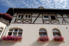 Camera con i girasoli in Bacharach lungo la valle del Reno in Germania Immagini Stock Libere da Diritti