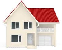 Camera con il tetto, il balcone ed il garage rossi al Fotografie Stock