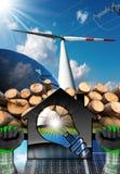 Camera con la lampadina e le risorse rinnovabili Fotografia Stock Libera da Diritti