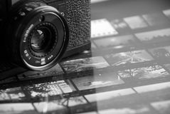 Camera and contact. Black and white,all photos be taken by me Royalty Free Stock Images