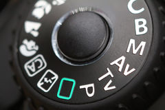 Camera control wheel. Wheel or knob on modern camera Royalty Free Stock Images