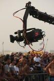 Camera crane. Filming crowd in Rip Curl Pro event in Peniche - Portugal Stock Image