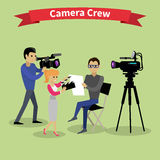 Camera Crew Team People Group Flat Style Stock Image