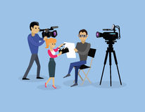 Camera Crew Team People Group Flat Style. Film crew, camera man, tv crew, video camera, television teamwork, recording movie, production studio illustration Stock Images