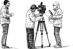 Camera crew. Vector image of the film crew at work stock illustration