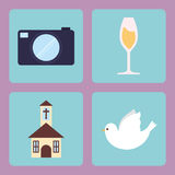 Camera cup of champagne dove and church design Royalty Free Stock Photography