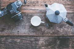 Camera, Cup, Equipment Stock Photography