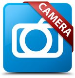 Camera cyan blue square button red ribbon in corner Royalty Free Stock Image