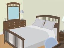 Camera da letto ad angolo con gli oggetti stilizzati Fotografia Stock Libera da Diritti