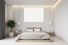 Camera da letto beige con un manifesto Fotografia Stock Libera da Diritti