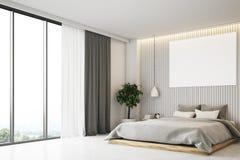 Camera da letto beige con un manifesto, vista laterale Fotografia Stock Libera da Diritti