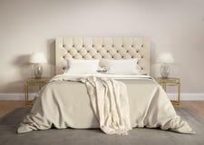 Camera da letto beige contemporanea con la coperta grigia Immagine Stock Libera da Diritti