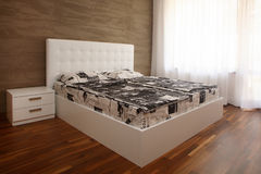 Camera da letto bianca Fotografia Stock