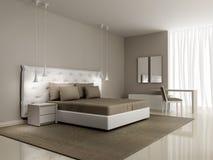 Camera da letto bianca di lusso con il letto abbottonato Fotografia Stock Libera da Diritti
