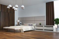 Camera da letto bianca e beige, angolo Immagini Stock Libere da Diritti