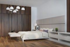 Camera da letto bianca e beige, lato Fotografia Stock