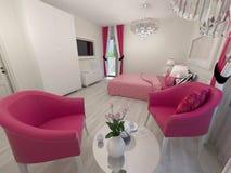Camera da letto bianca e rosa moderna Immagine Stock Libera da Diritti