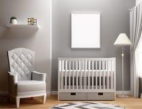 Camera da letto in bianco della scuola materna del modello della struttura Fotografie Stock Libere da Diritti
