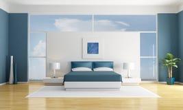 Camera da letto blu Fotografie Stock Libere da Diritti