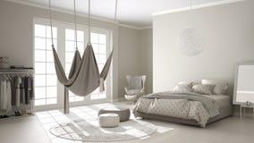 Camera da letto classica, interior design minimalistic, con lo scandinavo Fotografia Stock Libera da Diritti