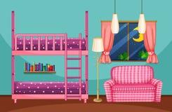 Camera da letto con il sofà bunkbed e rosa Fotografie Stock Libere da Diritti