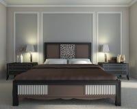 Camera da letto del Brown Fotografia Stock Libera da Diritti