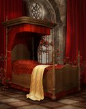Camera da letto dell'annata con le rose Fotografia Stock