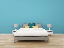 camera da letto della rappresentazione 3D su fondo variopinto, illustrati interno royalty illustrazione gratis