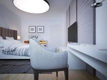 Camera da letto di art deco con area di lavoro Fotografia Stock