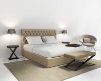 Camera da letto di lusso beige con la coperta Fotografia Stock Libera da Diritti