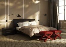 Camera da letto di lusso contemporanea con i panchetti rossi illustrazione di stock