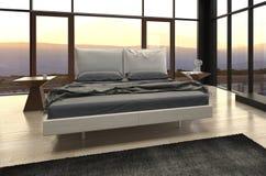 Camera da letto di progettazione moderna con la vista del paesaggio Immagini Stock Libere da Diritti