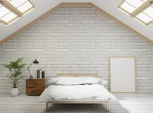 camera da letto di stile del sottotetto della rappresentazione 3D con il muro di mattoni bianco, pavimento di legno, albero, stru illustrazione di stock