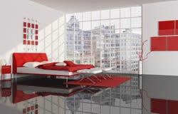 Camera da letto di un appartamento della città Immagini Stock