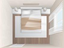 Camera da letto di vista superiore con le pareti beige Fotografia Stock Libera da Diritti