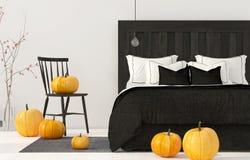 Camera da letto e decorazioni per Halloween Immagini Stock