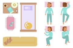 Camera da letto e donna addormentata illustrazione di stock
