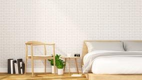 Camera da letto e rilassarsi area in appartamento o in hotel - interior design - rappresentazione 3D illustrazione di stock