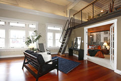 Camera da letto e salone moderni ricostruiti Fotografia Stock