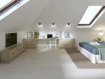 Camera da letto enorme sul sottotetto in uno stile moderno illustrazione di stock