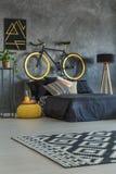 Camera da letto grigia dello studente con la bici Immagini Stock Libere da Diritti