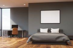 Camera da letto grigio scuro della parete, anteriore illustrazione vettoriale