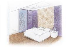 Camera da letto interna Immagini Stock